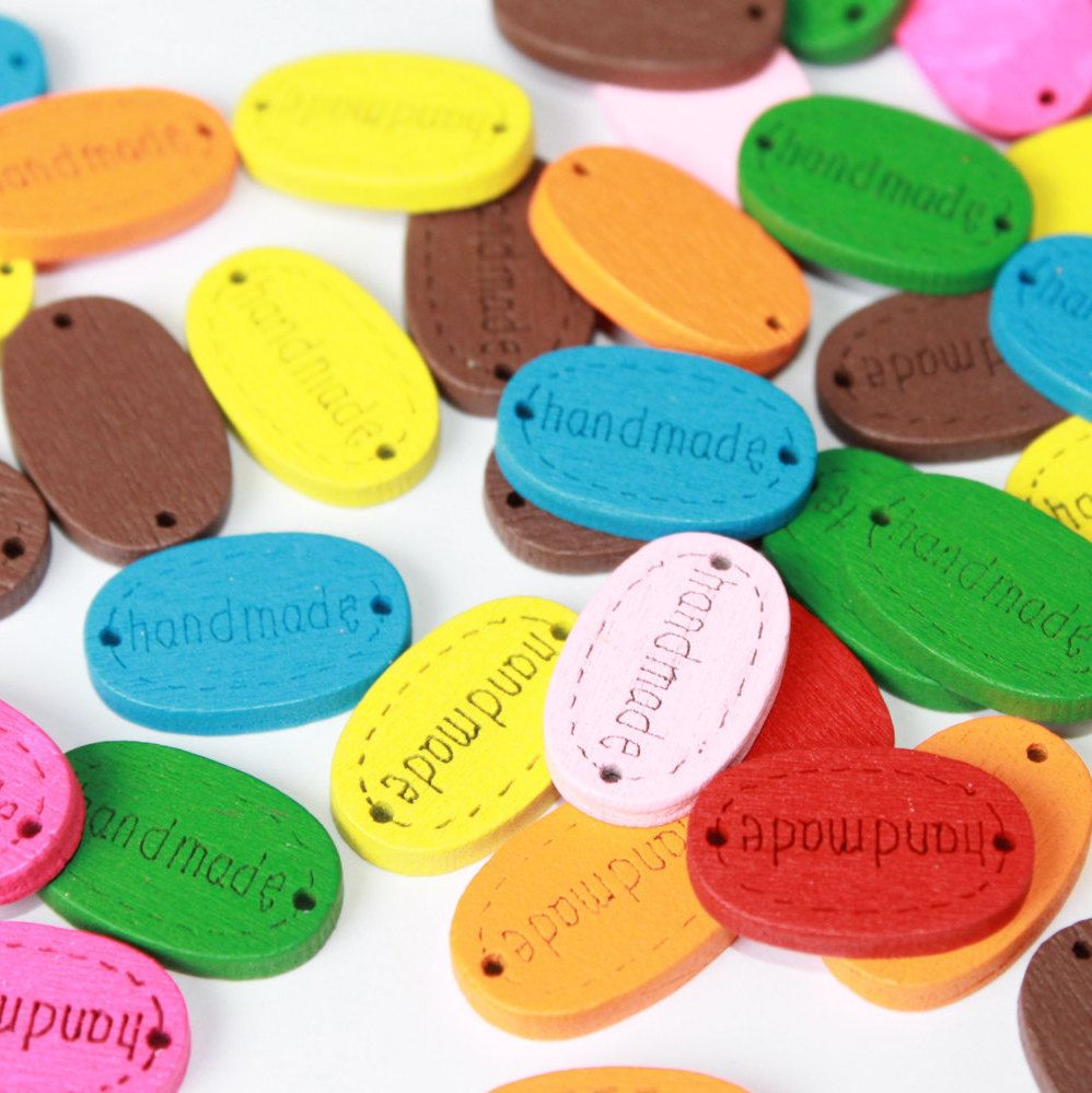 Handmade wooden tags labels sewing labels sew in handmade label, colorful oval labels, 50 pcs