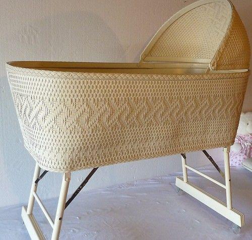 Vintage 50\'s Burlington Basket Co Woven Nursery Bassinette my mom ...
