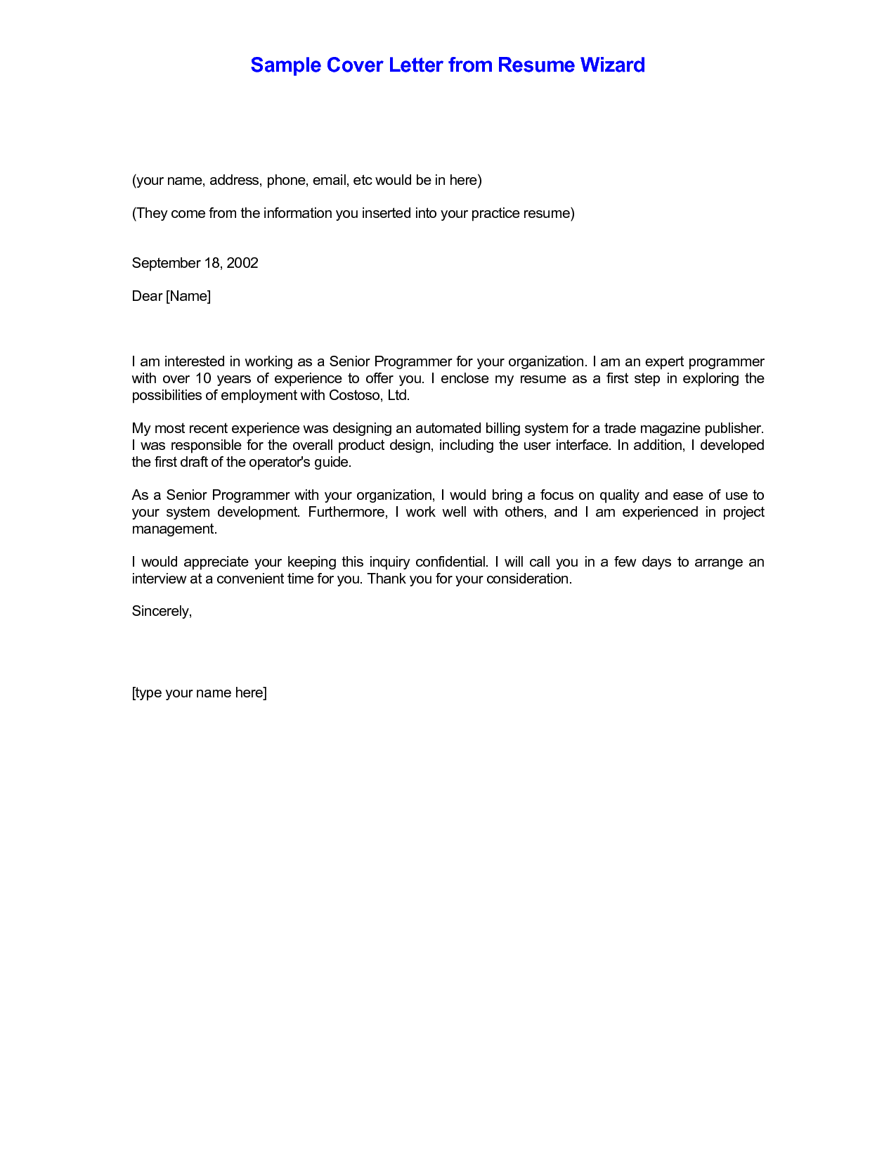 Cover Letter Example Nursing Careerperfect 2 - http://www ...