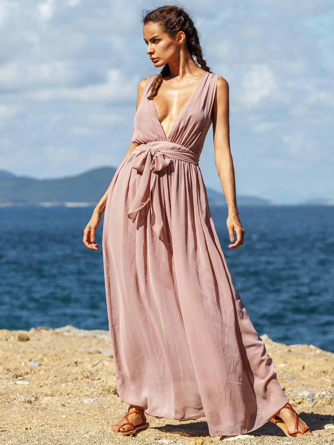 Vestido cuello V plisado maxi -marrón-Spanish SheIn(Sheinside ...