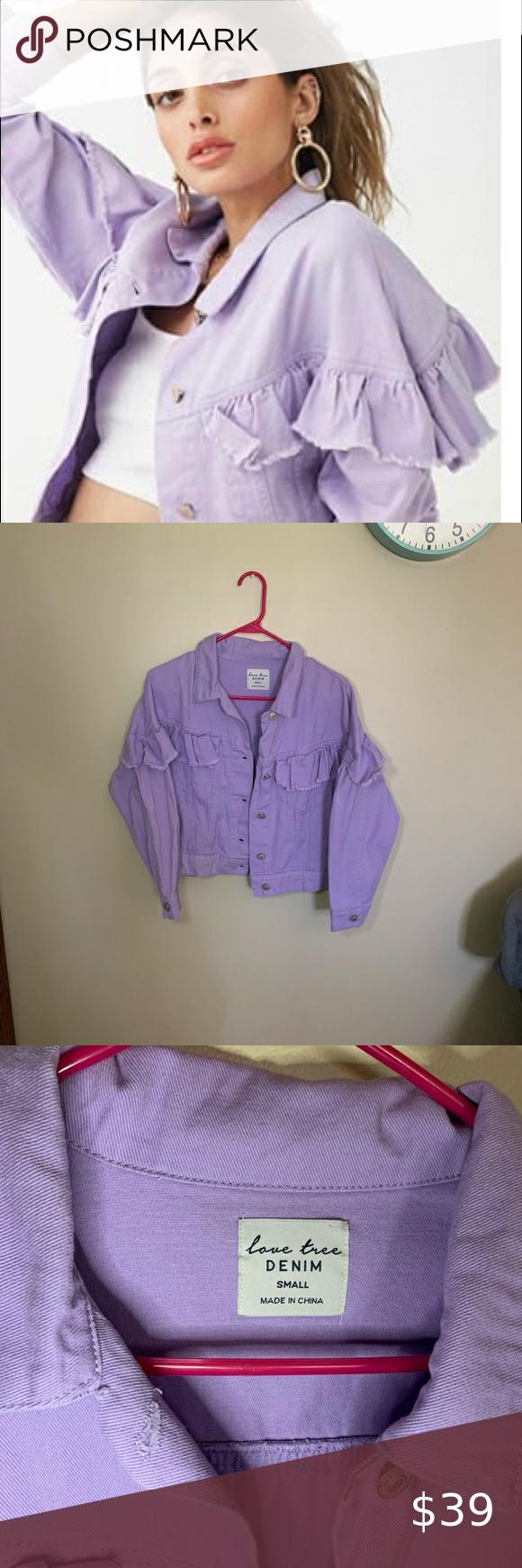 Nwot Lavender Denim Jacket Ruffled Denim Jacket Denim Jacket Jackets [ 1740 x 580 Pixel ]