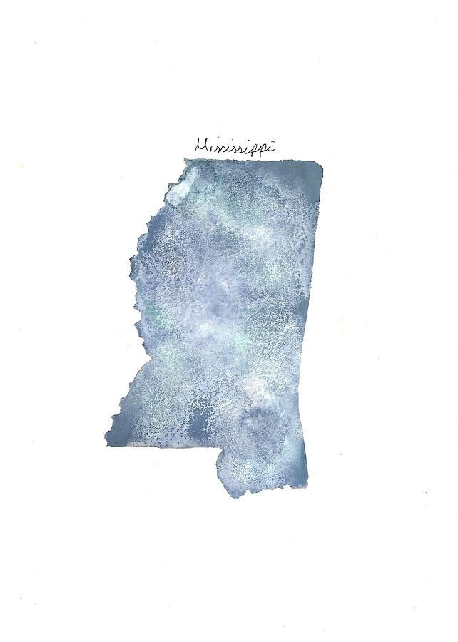 A Beautiful Blue And Gray Watercolor Painting Of The State Of