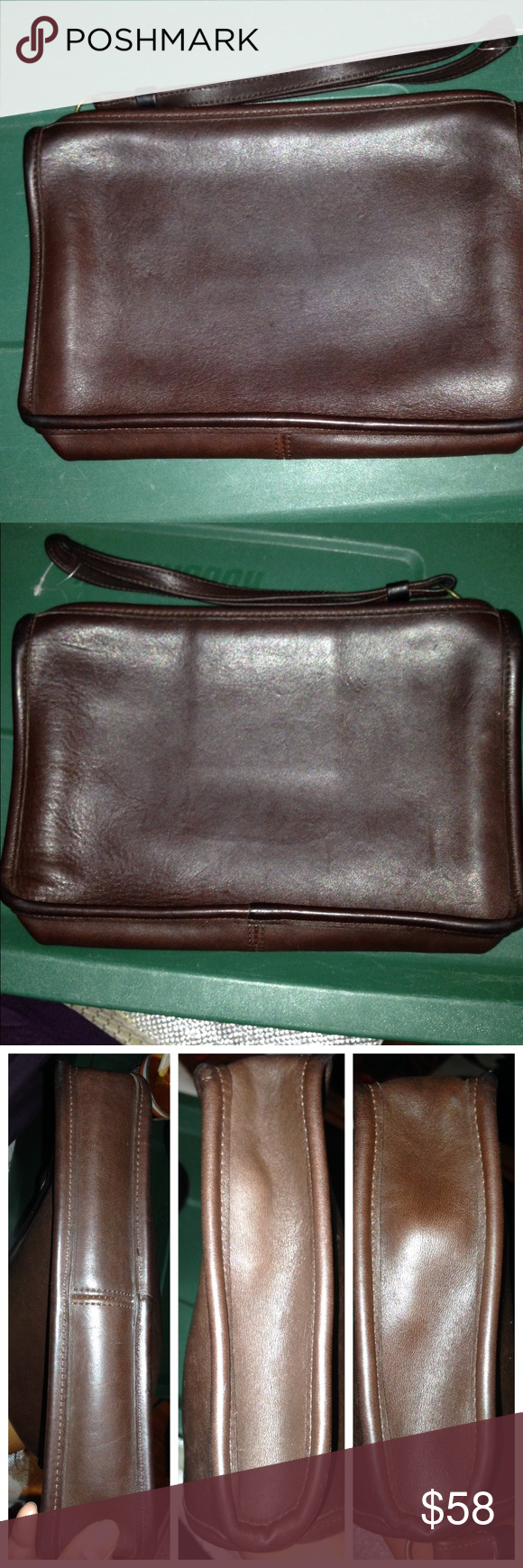 Sale Vtg Coach 9972 Chocolate Clutch Wristlet U Leather