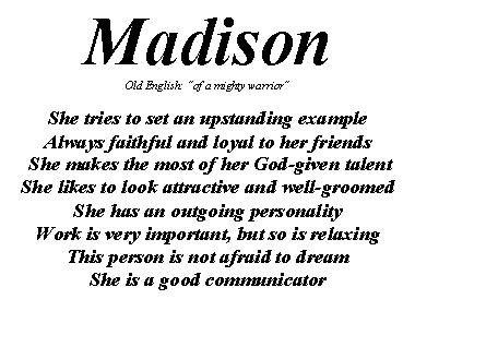 Más de 25 ideas increíbles sobre Madison name en Pinterest