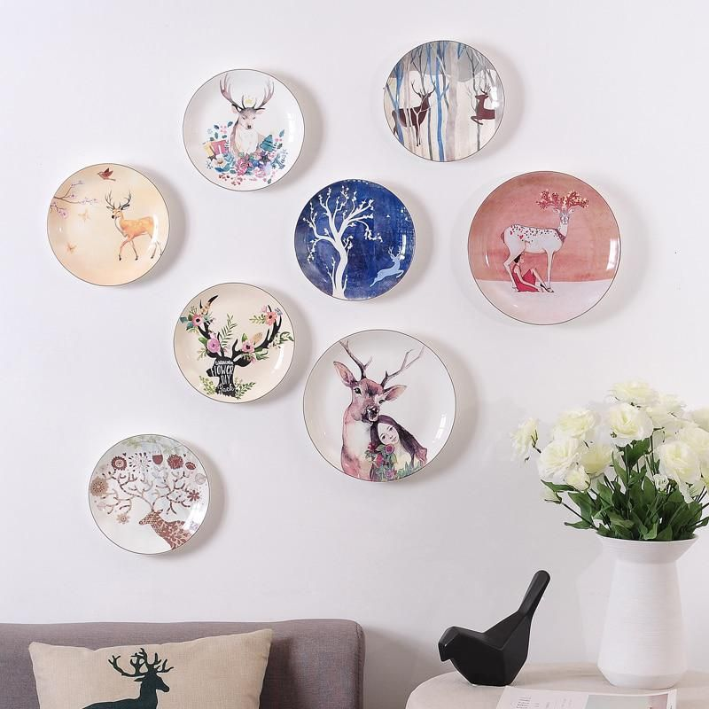 Ins Creative Plate Ceramic Wall Hanging Decorative Dish Deer Head Diy Design Modernand Elegant Bar Hotel Home Decor Plates On Wall Ceramic Plates Wall Decor