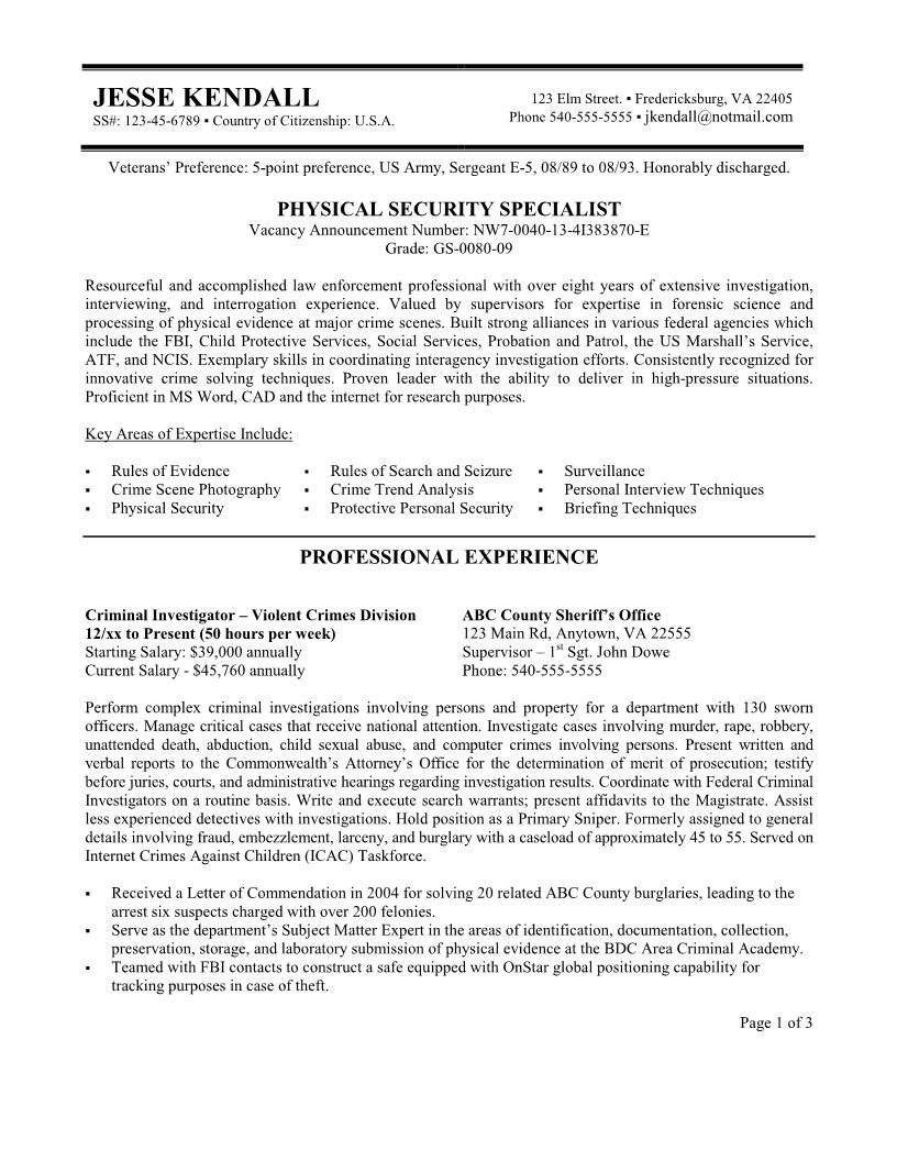 Federal Resume Examples Security Resume  Federal Resume Example Free Federal Resume