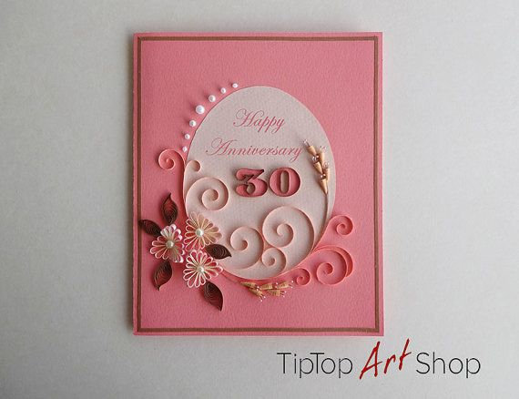 Quilling Anniversary Greeting Card With Handmade 3D Paper Flowers By TipTopArtShop