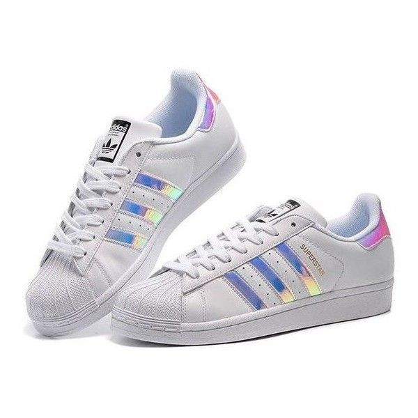 c7127fccded Adidas Originals Superstar Womens Trainers Iridescent Pearl Sizes 3 to... ❤  liked on Polyvore featuring shoes and slippers