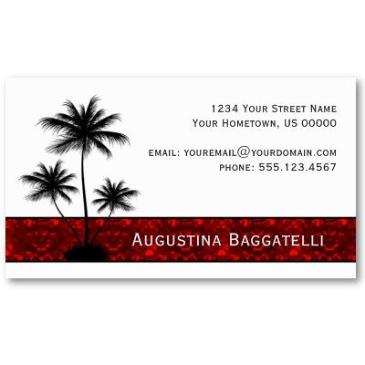 Black palm trees silhouette with red business card palm tree black palm trees silhouette with red business card colourmoves