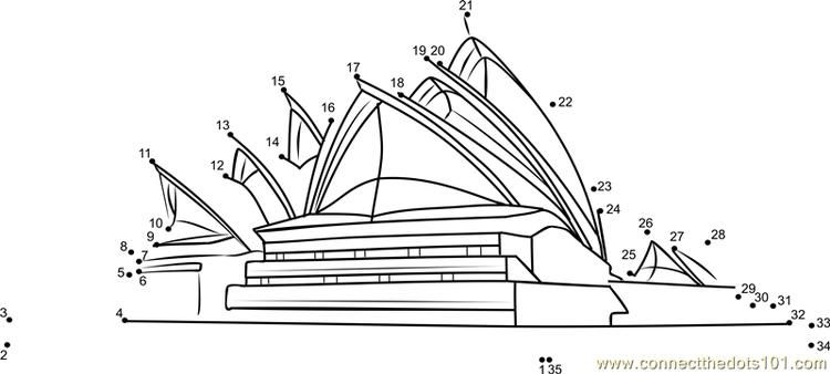 Sydney Opera House Australia Connect Dots Snow White Coloring Pages My Little Pony Coloring Free Christmas Coloring Pages