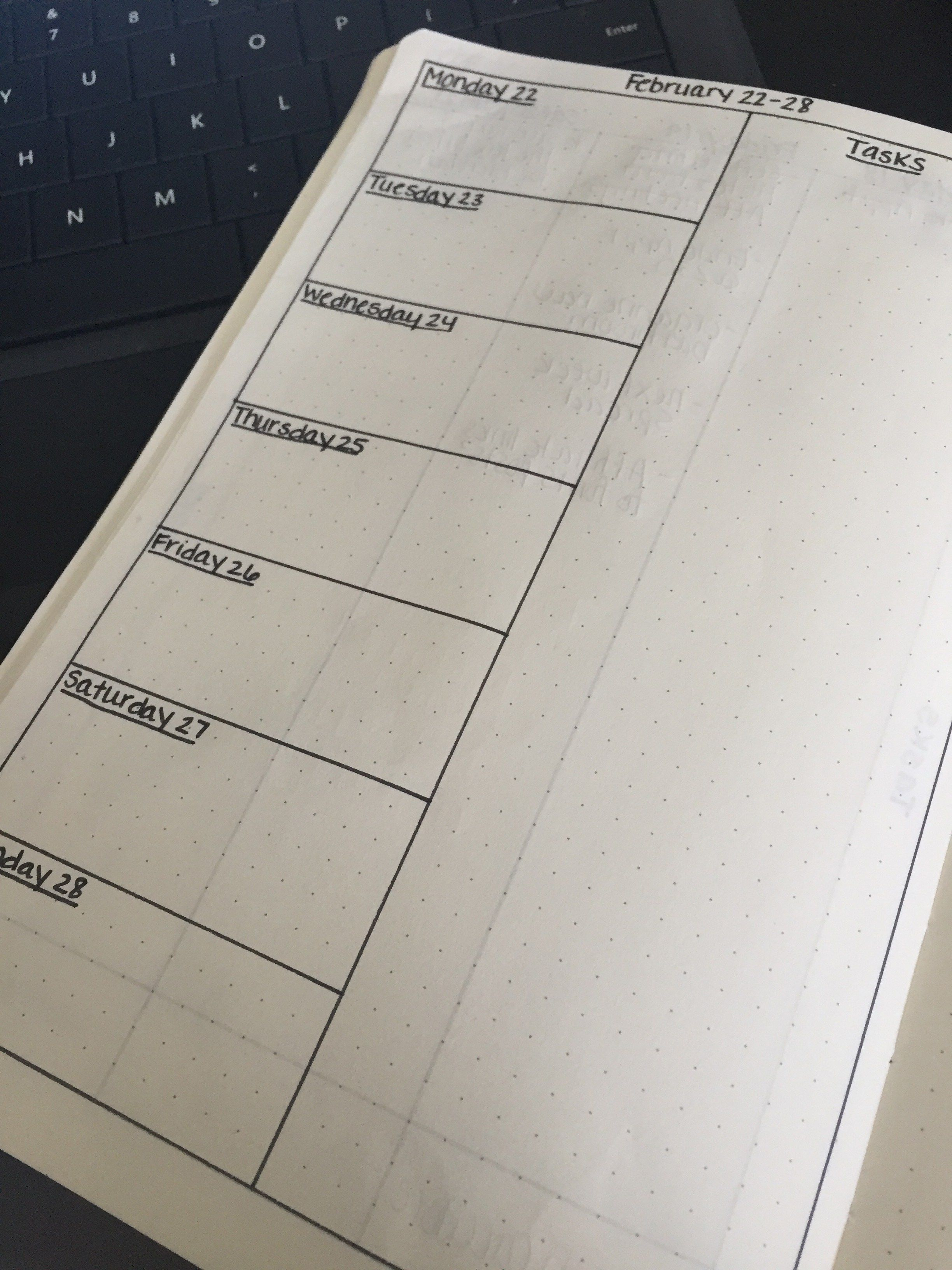 My current weekly spread includes a split page, half being a calendar and the other half left for my to-do list.
