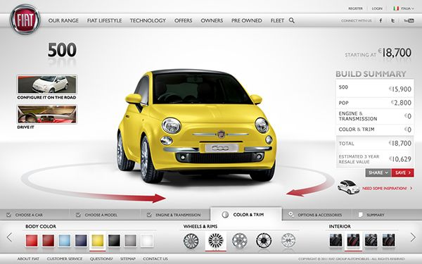 fiat car configurator on behance | ui | pinterest | fiat cars