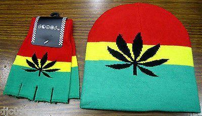 9c978dead Rasta Red,Yellow,Green Large MJ Leaf Beanie Ski Cap+Rasta Large MJ ...