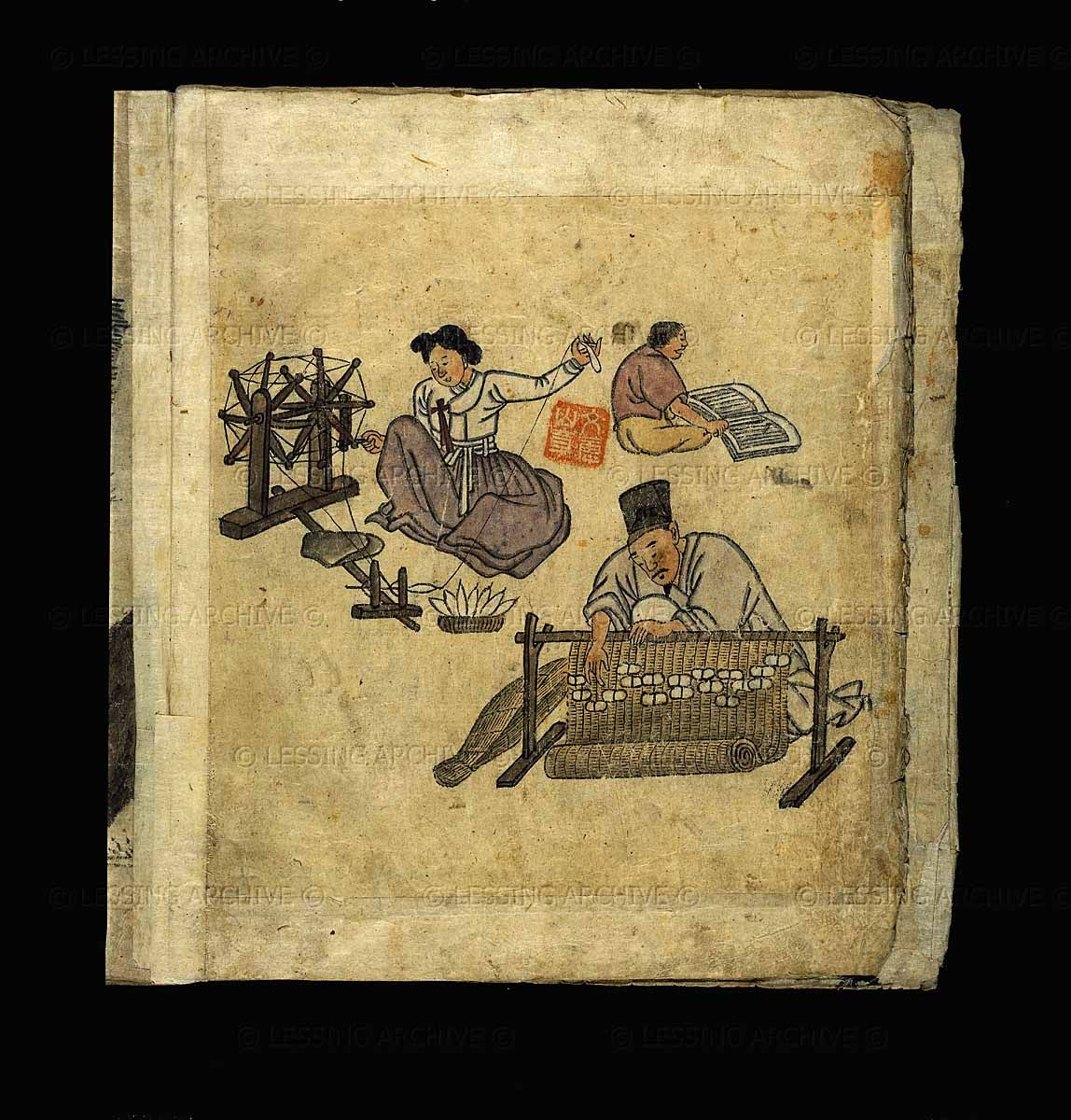Korea Choson Dynasty 1392 1910 Painting 19th Kim Hong Do Spinning And Weaving From Album Of Scenes From Da Knitting Spinning Anything Fiber Telai
