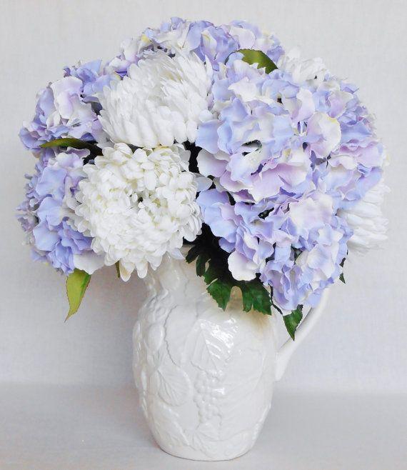 Artificial flower arrangement white cremon chrysanthemums lavender artificial flower arrangement white cremon by beautyeverlasting mightylinksfo