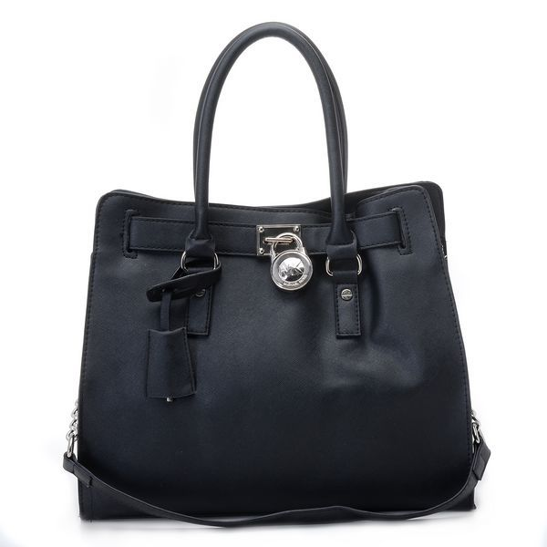 Michael Kors Hamilton Large Tote Black Leather Silver * Black saffiano  leather. * Silver-