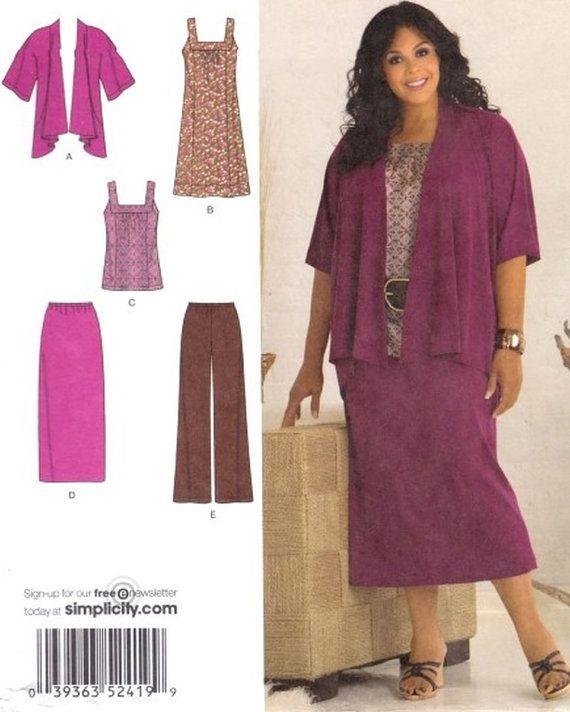 Simplicity 2419 Khaliah Ali Plus Womens Skirt Pants Jacket Dress ...