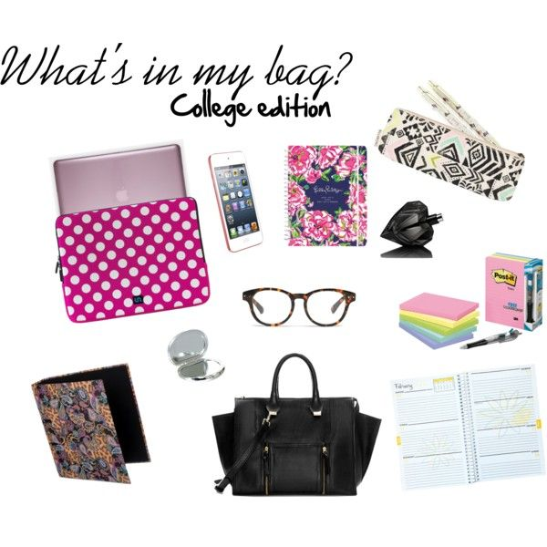 """What's in my bag - college edition"" by jill-lee93 on Polyvore  #fashion #education #style #student #organisation #college #school"