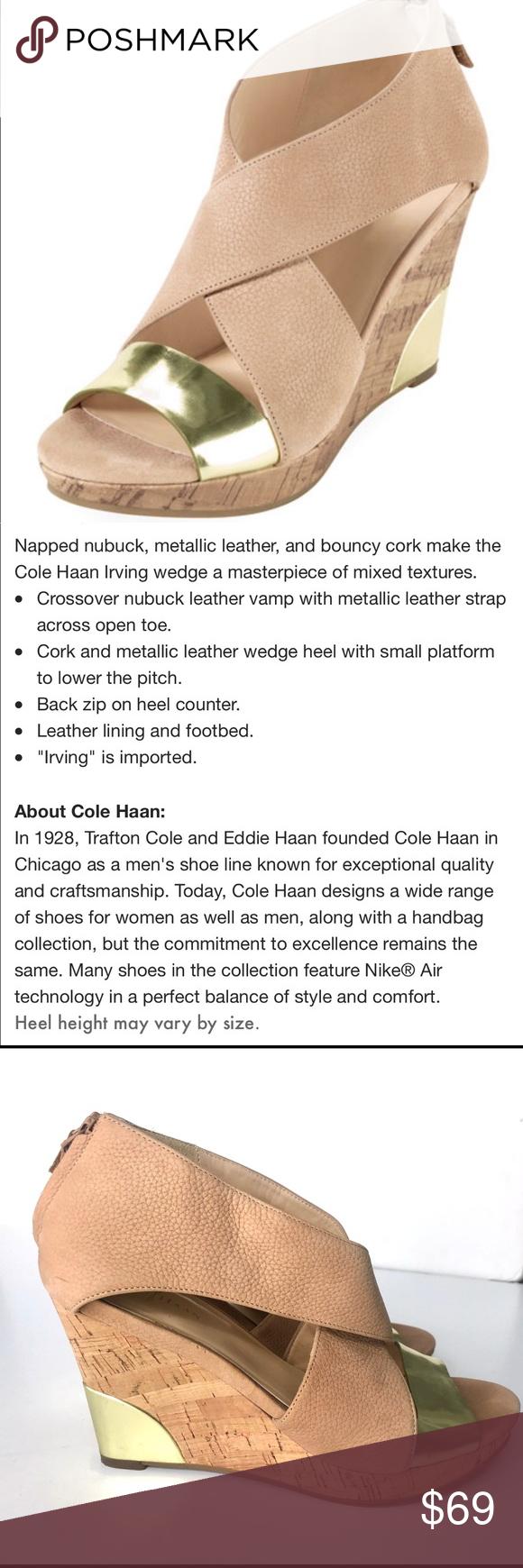 Cole Haan Nike Air Irving Cork Wedge Sandal Gold Cole Haan
