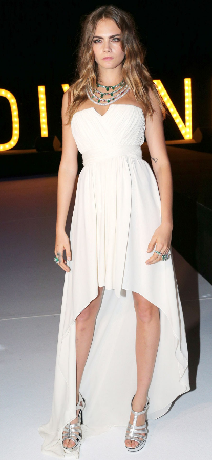 We Would Love To Wear Cara's Cream Asymmetric Dress To Prom