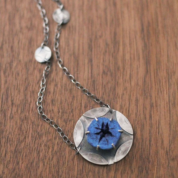 Crystal core necklace azurite druzy and silver fossil