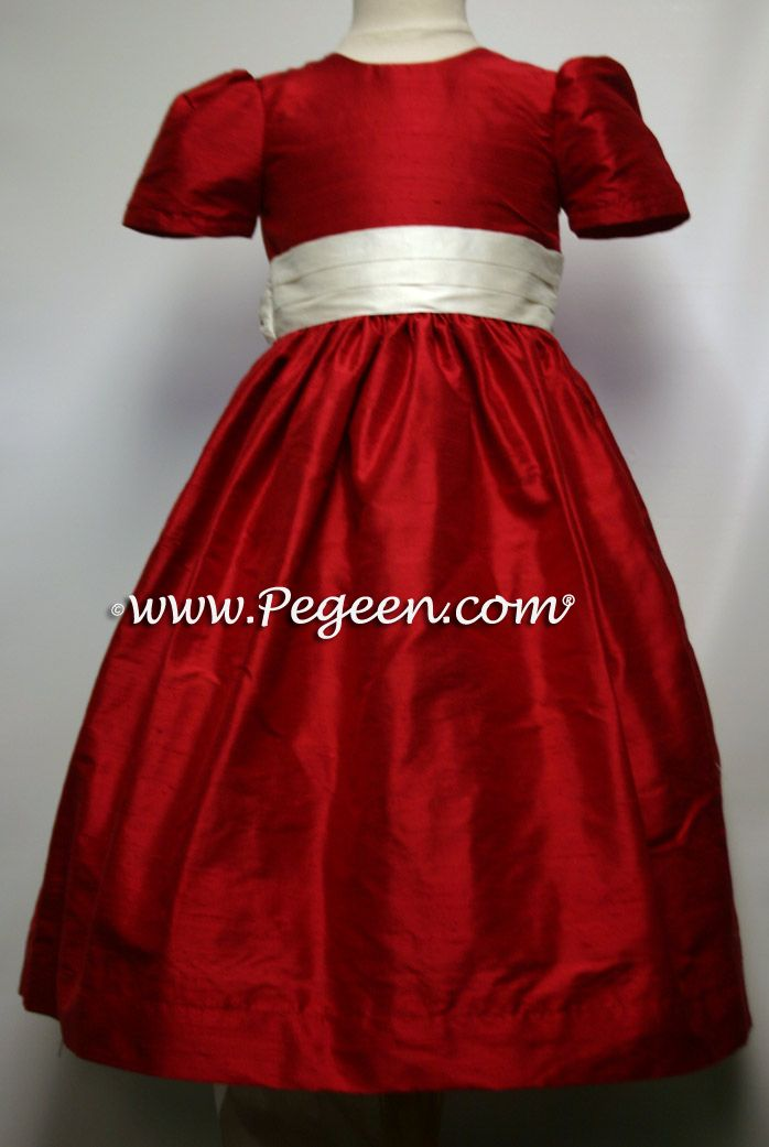 Christmas Red And Antique White Silk Flower Girl Dresses Pegeen