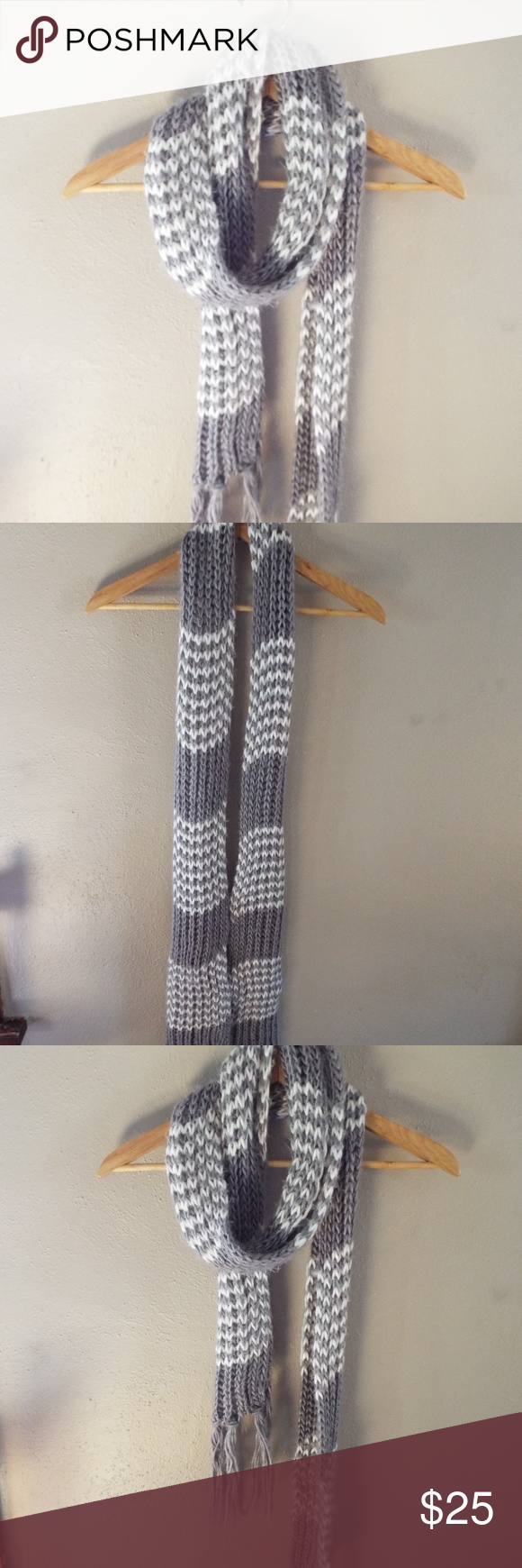 Photo of Long Handmade Knit Scarf This handmade knit scarf is gray and white and rather l…