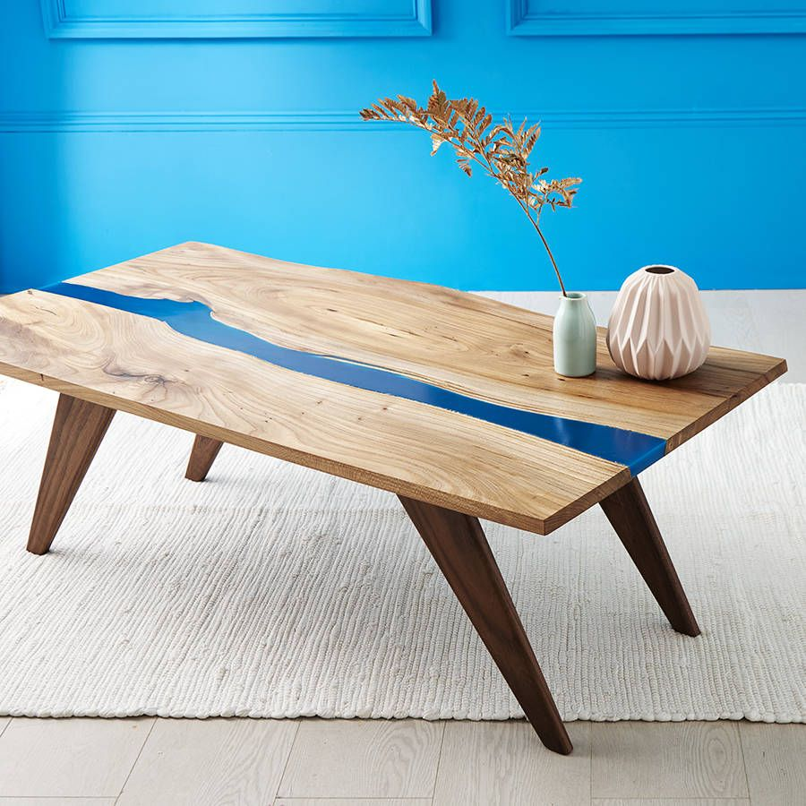resin river coffee table, natural live edge slab table on walnut