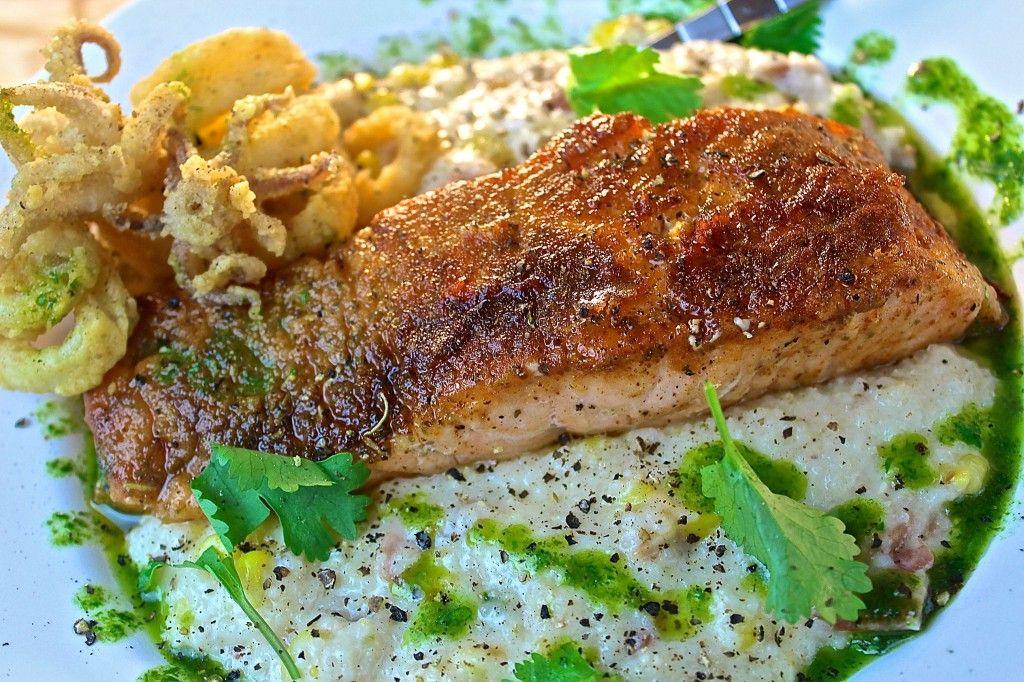 Crispy Salmon & Spicy Creamed Corn Grits
