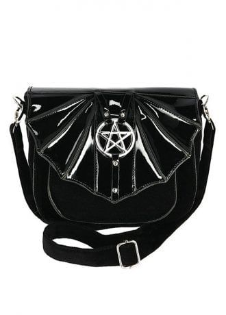 Restyle Gothic Goth Black Witchcraft Faux Fur Backpack Studded Silver Pentagram