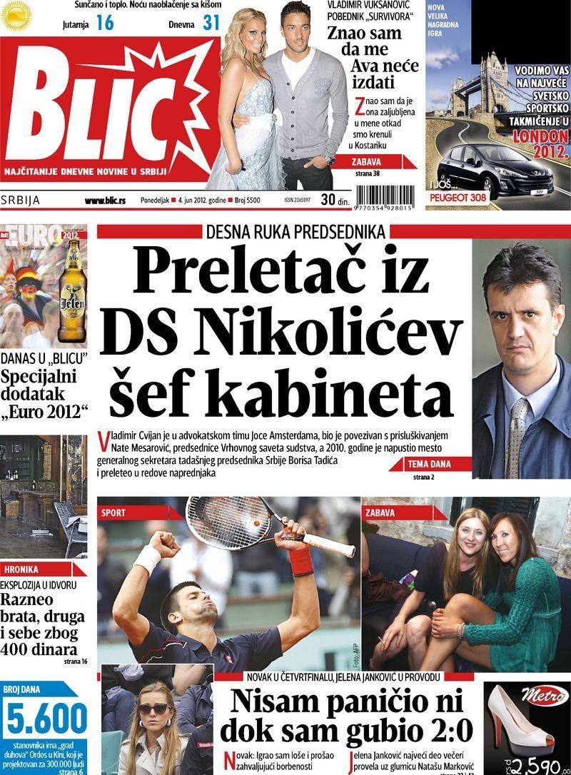 "Naslovna strana ""Blica"" za 4. jun 2012. Baseball"