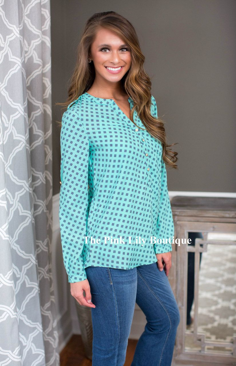 USE DISC. CODE: REPAMIE10 TO SAVE! www.pinklilyboutique.com      Running Out Of Time Aqua Blouse - The Pink Lily Boutique