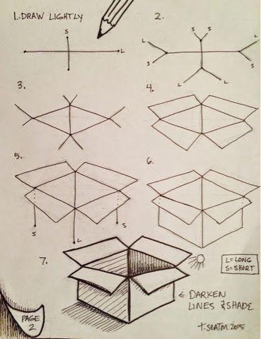 3D-Zeichnung mit einer Box - Architektur und Kunst #drawingideas
