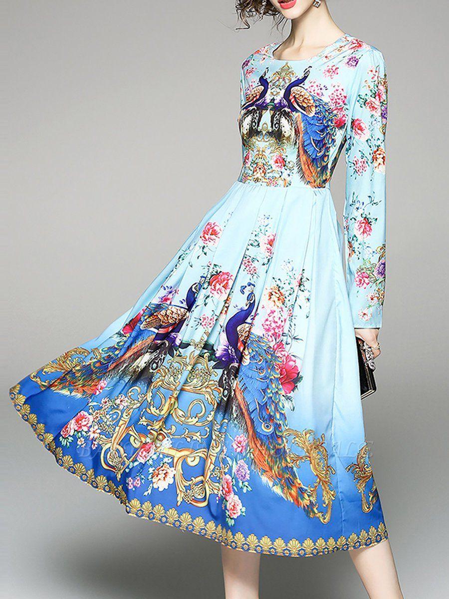 53d44bf34c5 Blue Maxi Dress Swing Beach Dress Long Sleeve Boho Cotton Printed Floral  Dress