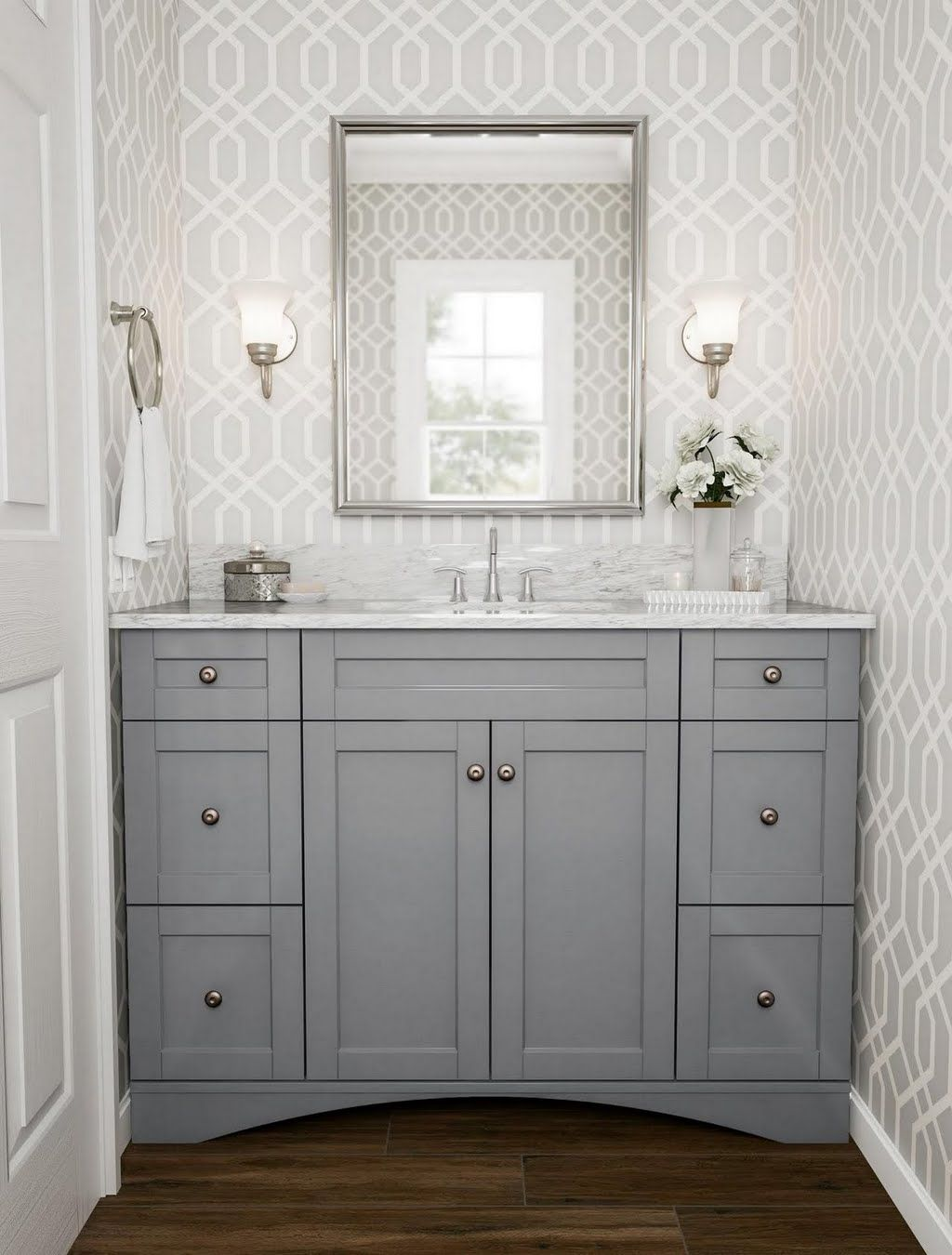 Photo of Silver Trellis and Arch Bathroom Vanity –   Bathroom –  The Home Depot