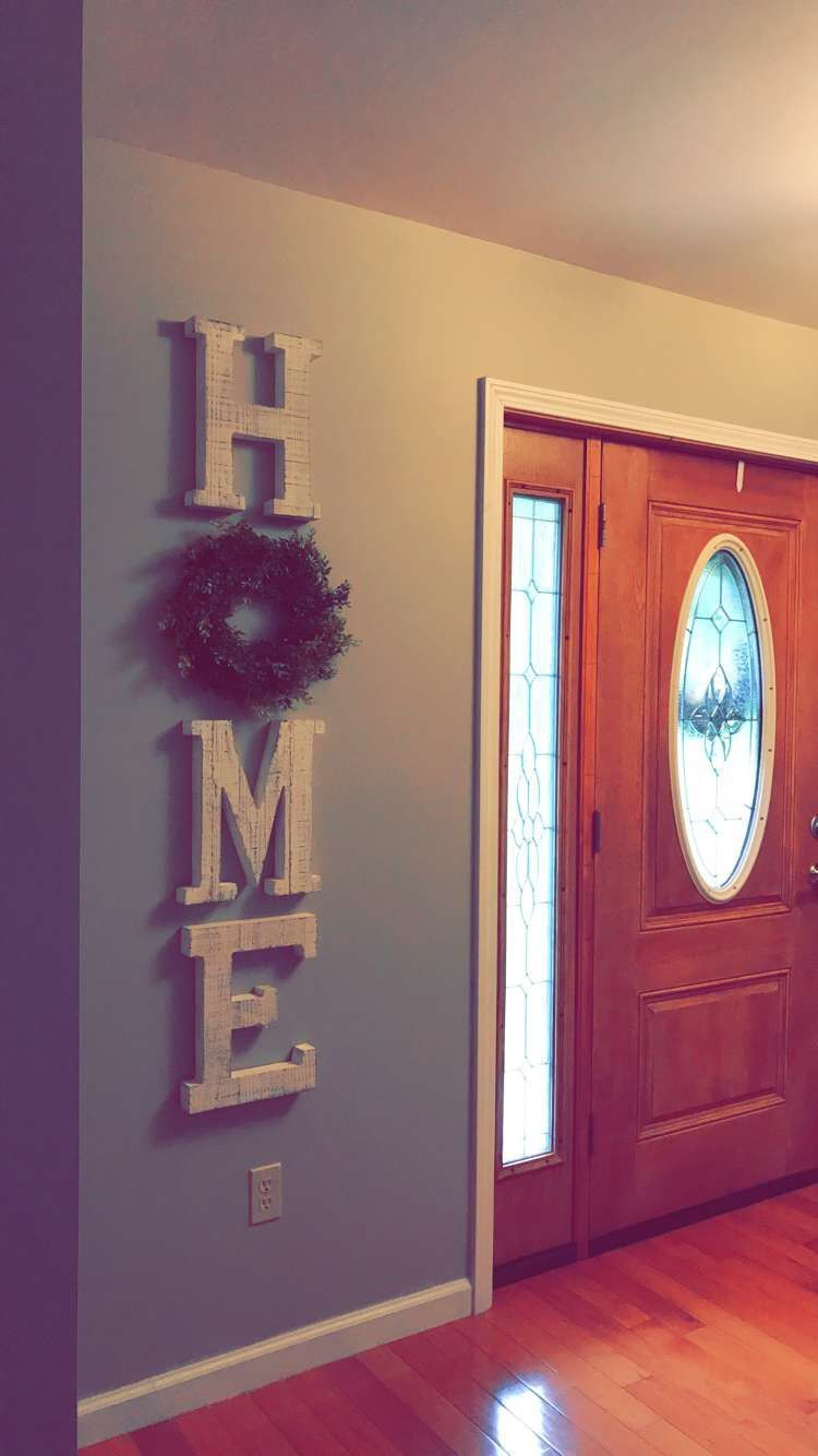 Home decor farmhouse style decorating with wreaths foyer front entrance mindful gray sherwin williams also large wooden letters rh pinterest