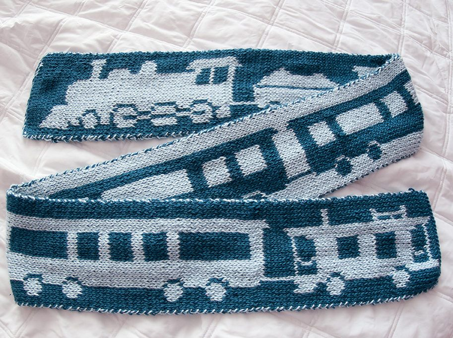 c2877a7c4b35 Free Knitting Pattern for Train Scarf - Double knit scarf with train ...