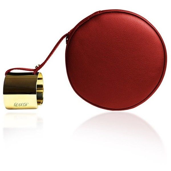 Perrin Paris M'O Exclusive Le Rond Clutch In Red Calf Leather With... (£1,155) ❤ liked on Polyvore featuring bags, handbags, clutches, calfskin handbag, red clutches, monogrammed purses, round handbag and zipper purse