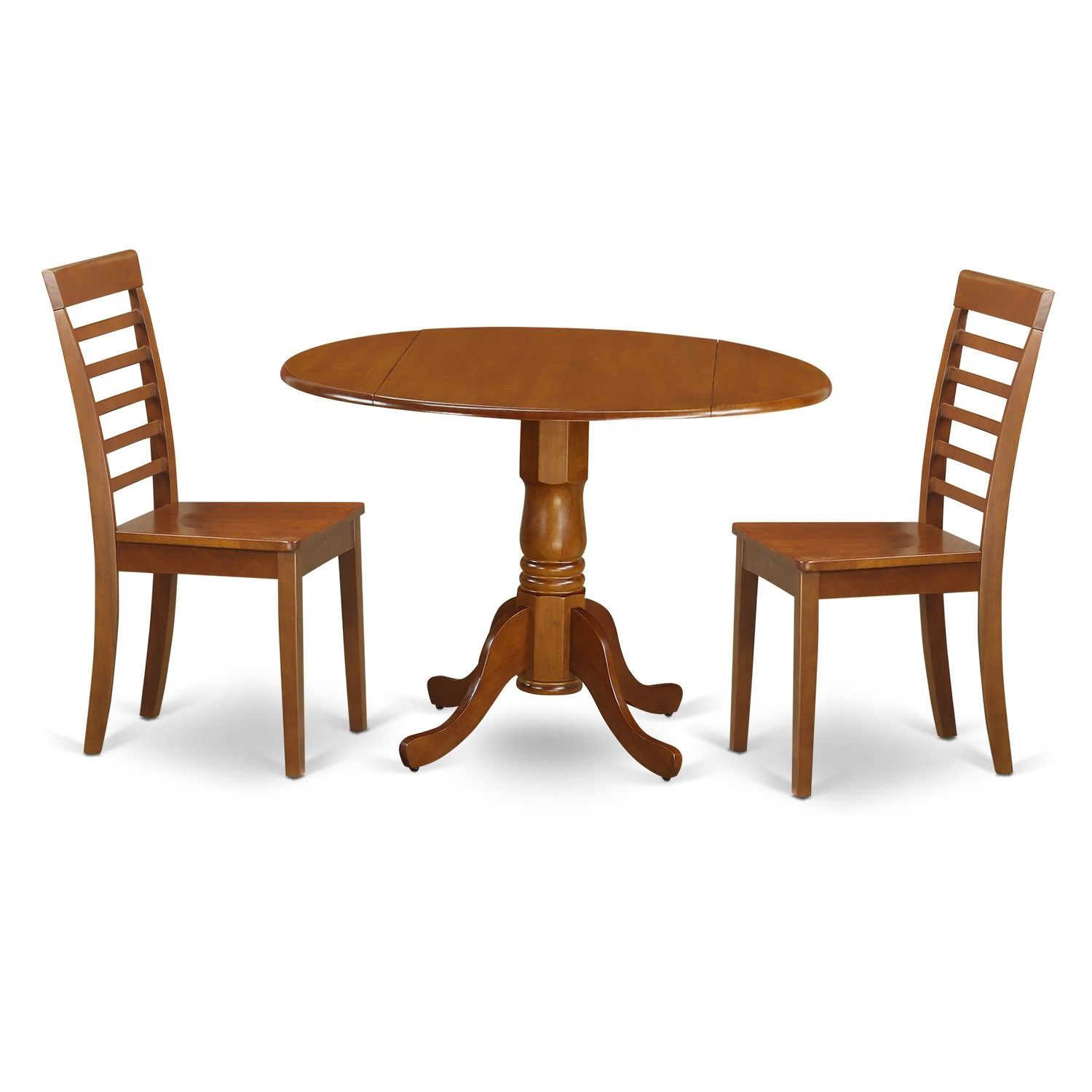Saddle Brown Small Kitchen Table And 2 Chairs Dining Set Wood Seat Size