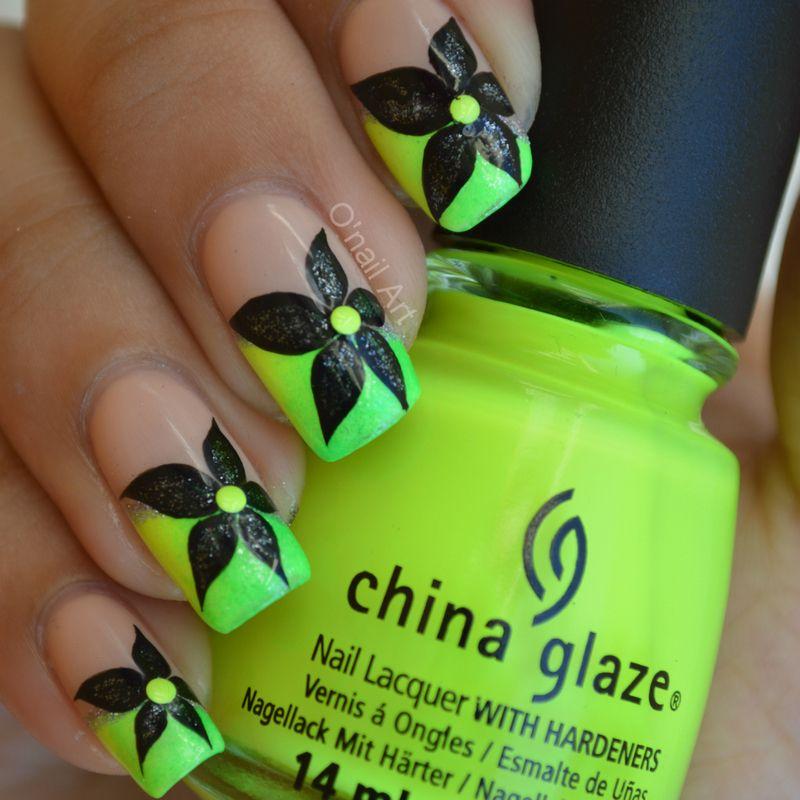 Black neon nails nail art by onailart all about nails black neon nails nail art by onailart prinsesfo Gallery