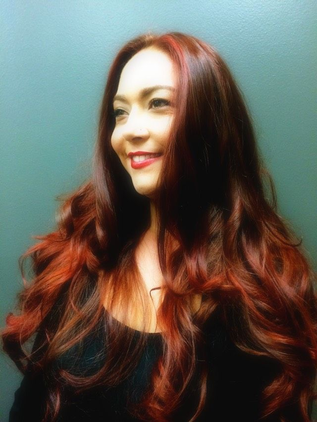 red hair color on long hair using up to four shades | Red hair ...