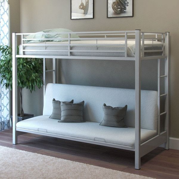 Gibson Living Zelen Twin Over Futon White Bunk Bed
