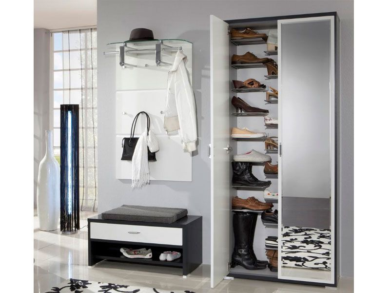 billig garderobe mit schuhschrank und spiegel garderobe pinterest garderobe mit. Black Bedroom Furniture Sets. Home Design Ideas