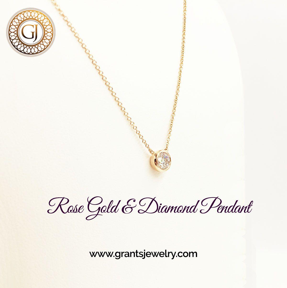 Bezelset gia certified diamond in an k rose gold pendant fine