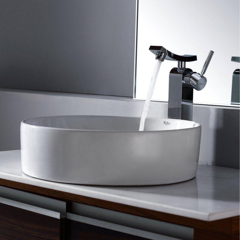 Kraus C-KCV-140-14300CH White Round Ceramic Sink and Unicus Faucet - Chrome - C-KCV-140-14300CH