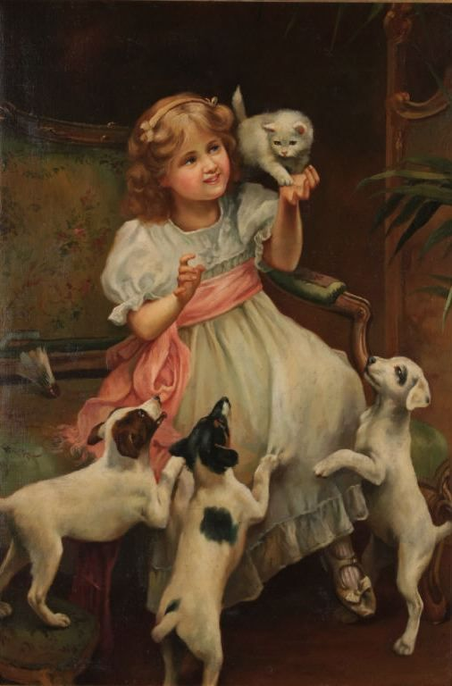 Little Girl Collie Dog by Arthur John Elsley vintage art
