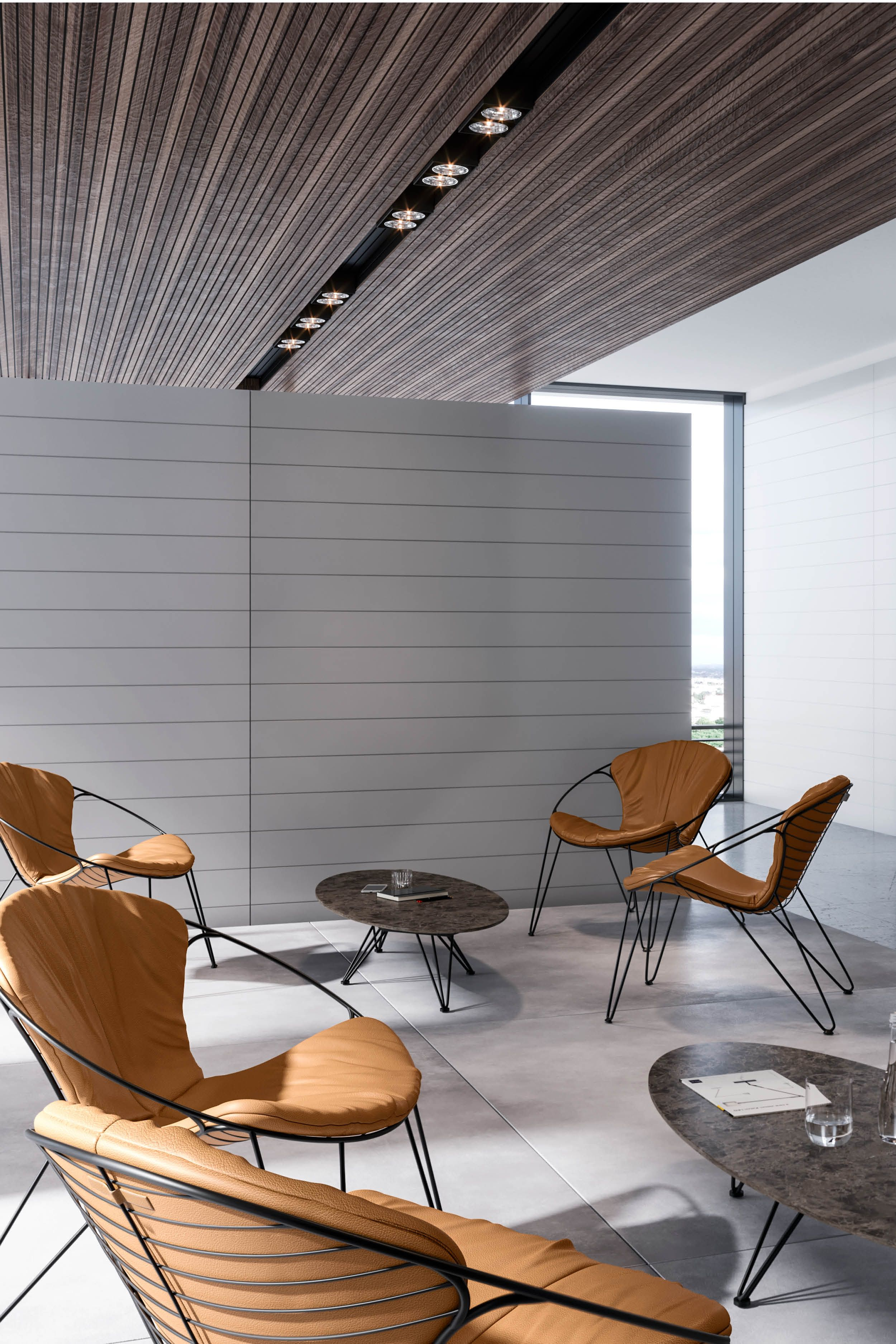 Turn a waiting room into a meeting place. Let your visitors relax while waiting in the beautiful WIRE chairs. #chair #chairs #chairdesign #chairdecor #designchairs #cognaccolor #cognaccolour #waitingroom