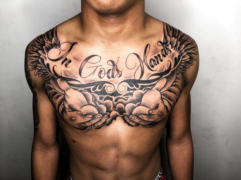 Photo of # Tatouages, Poitrine citation tatouages pour hommes