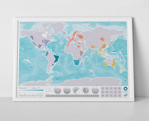 Scratch Map Oceans map is our first world map poster printed on – Luckies Of London Scratch Map Travel Edition