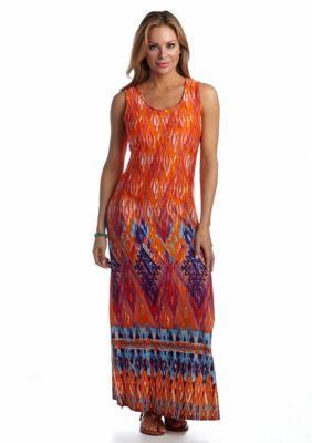 Kim Rogers  Petite Abstract Border Print Maxi Dress